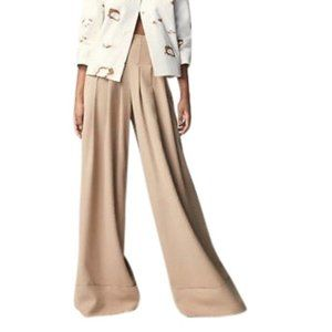 Designer Beige Wide Leg Trousers Culottes Palazzo